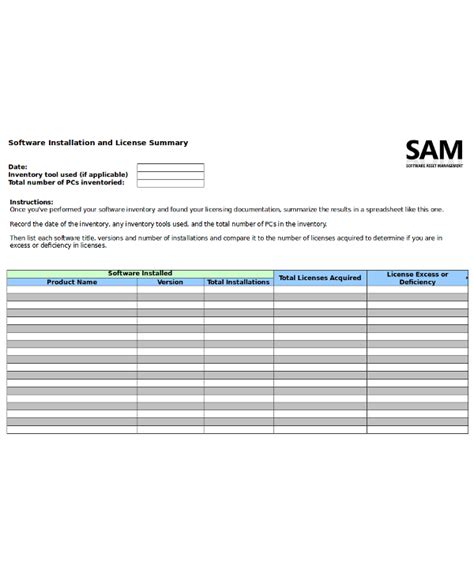 software questionnaire template 14 inventory template free sle exle format