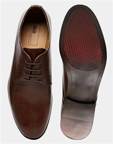 brown derby shoes asos derby shoes in leather in brown for lyst