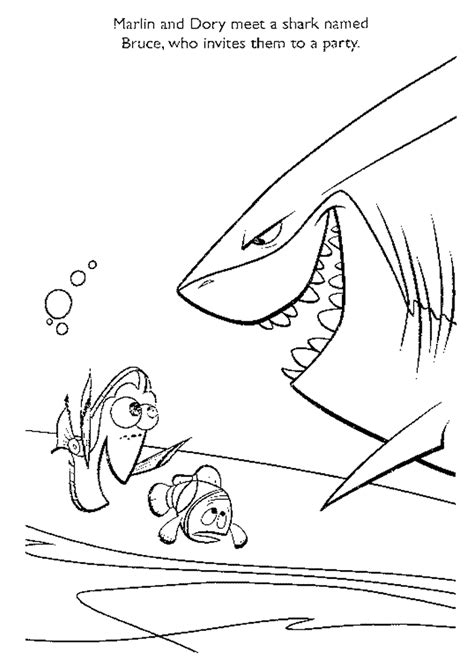 nemo shark coloring pages finding nemo with shark coloring page printables