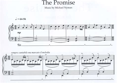 a promise film piano sheet music nyman michael the promise michael nyman