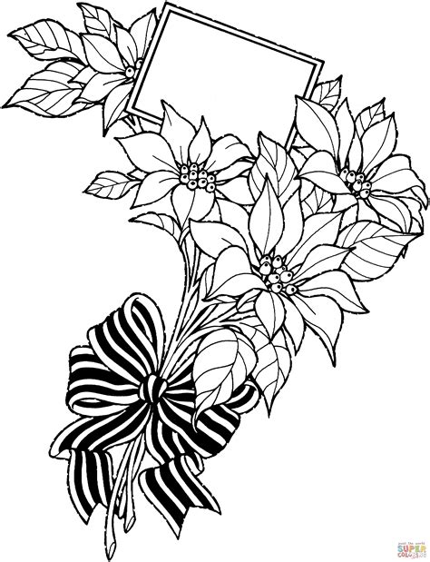 printable greeting cards black and white christmas flower bouquet with greeting card coloring page