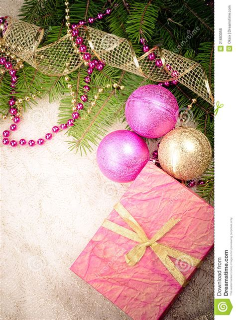 christmas pink and gold decorations royalty free stock