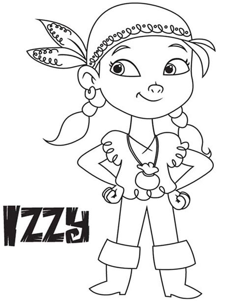 izzy the vice captain of never land pirates coloring page