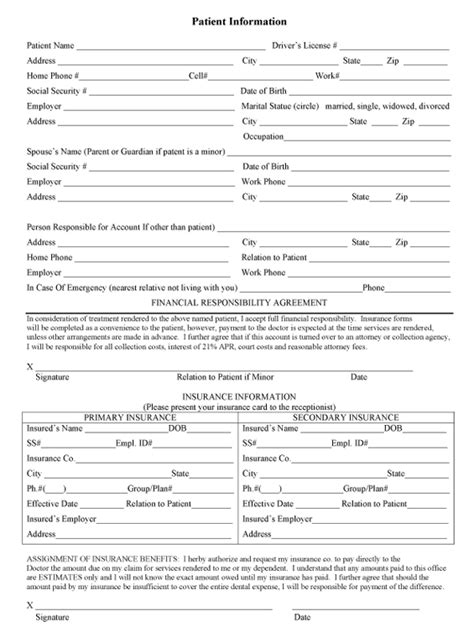 printable form blank patient information forms 2017 2018 best cars