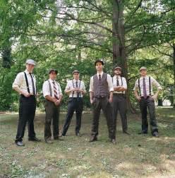 Vintage wedding men in suspenders