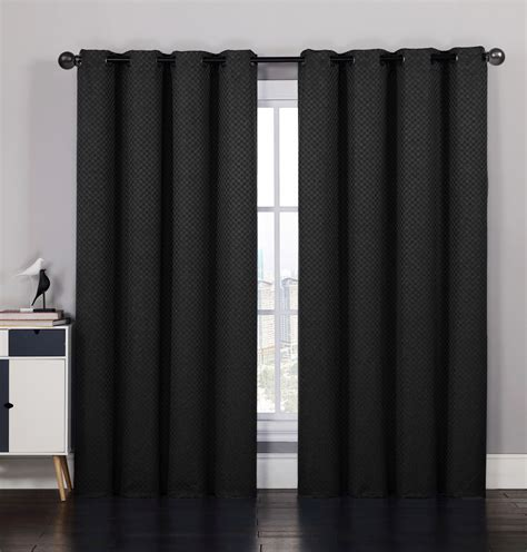 black window curtain pair of laurant jacquard black window curtain panels w