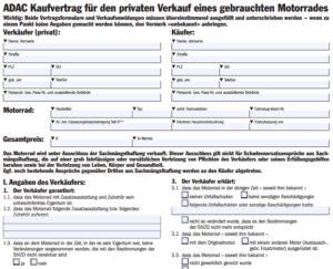 Kaufvertrag Adac Motorrad kaufvertrag motorrad f 252 r privat muster vorlage kostenlos