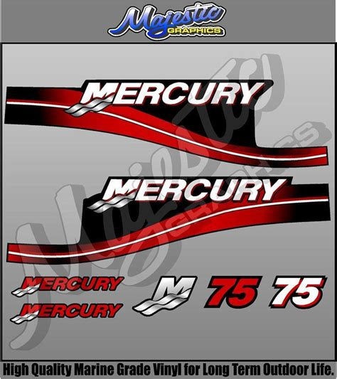 mercury boat motor stickers mercury 75hp decal kit outboard decals ebay