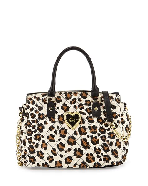 Betsey Johnson Quilted Satchel by Betsey Johnson Quilted Leopard Print Satchel In Animal