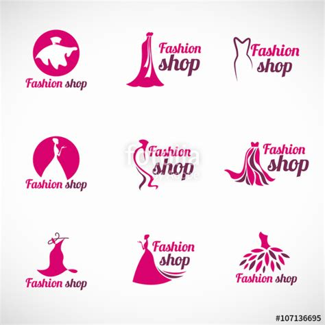 clothes design logo vector quot pink woman dress fashion shop logo vector set design