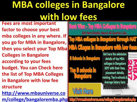 Idaho State Mba Deadline by Ppt Top Mba Colleges In Bangalore Rank Wise Powerpoint