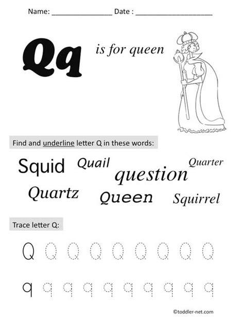 free printable letter q preschool worksheet