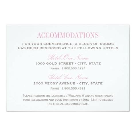 wedding hotel accommodation card template wedding invitation hotel insert template mini bridal