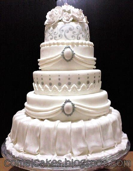 Fondant Wedding Cakes by Comel S Cakes Cupcakes Johor Bahru Grand 5 Tiers