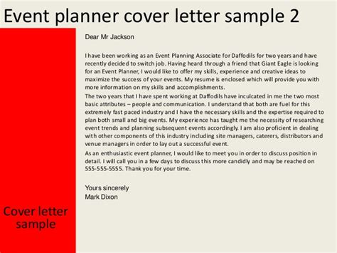 Planner Cover Letter by Event Planner Cover Letter