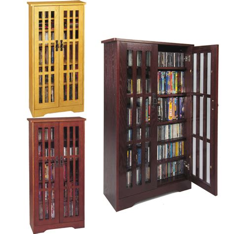 Cd Cabinets With Glass Doors Leslie Dame Cd Storage Cabinet With Glass Doors Oak Walnut Or Cherry M 371