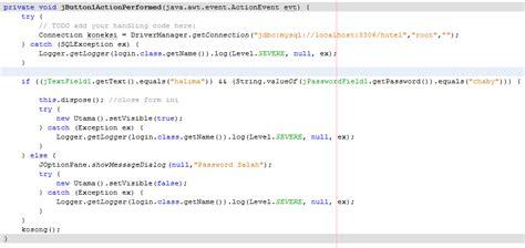 membuat form login java membuat form login koneksi java dengan mysql