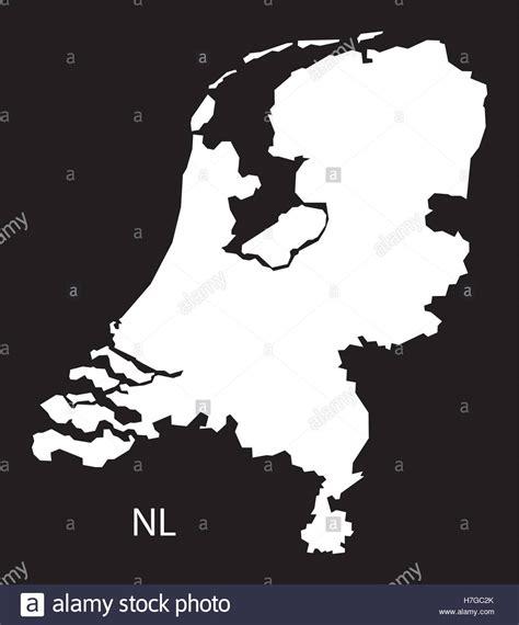 netherlands map black and white netherlands map black white stock vector
