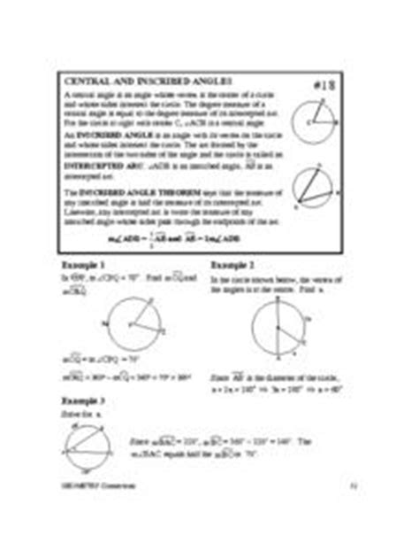 Central And Inscribed Angles Worksheet by Central And Inscribed Angles 10th Grade Worksheet Lesson