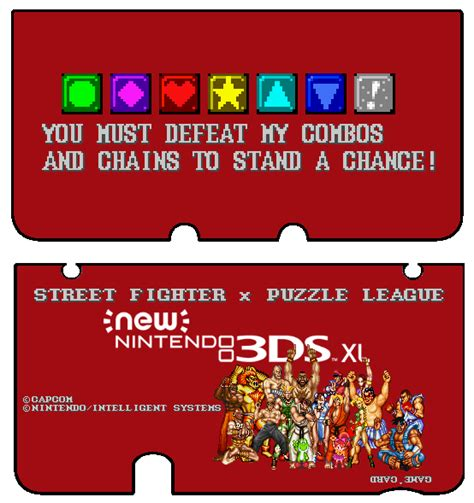 New 3ds Xl Sfii X Puzzle League Skin Front Back By Thewolfbunny On Deviantart 3ds Xl Skin Template