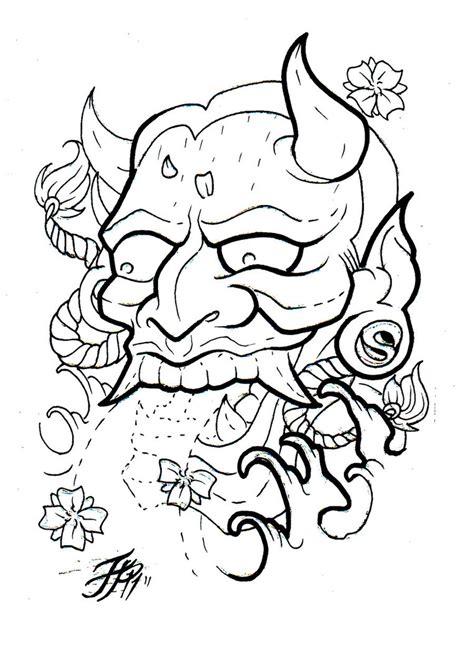 hannya mask tattoo outline hannya flash outline by eltri on deviantart