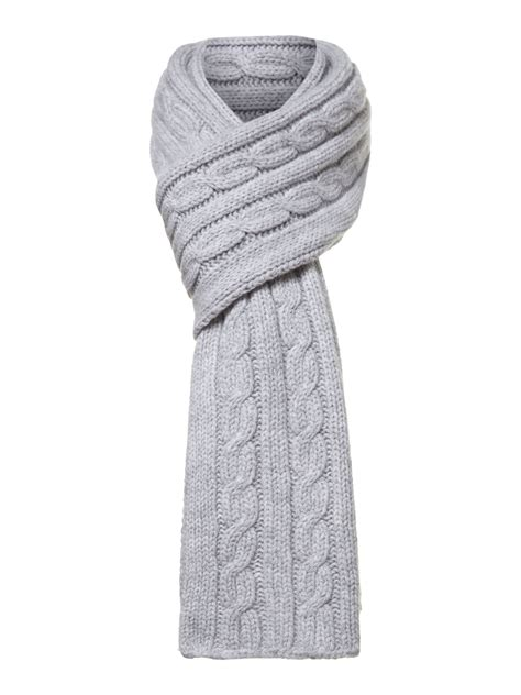 grey knit scarf hackett chunky cable knit scarf in gray for grey lyst