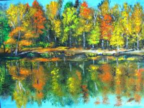 Landscape Pictures For Acrylic Painting Fall Landscape Acrylic Painting Framed By Natalja Picugina