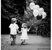 Holding Hand Kids Little Couple Balloon Cute