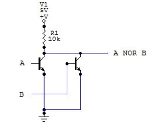 transistor nor gate electronic circuits for beginners logic gates