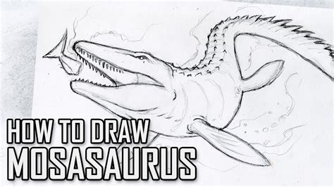 draw mosasaurus  jurassic world tutorial