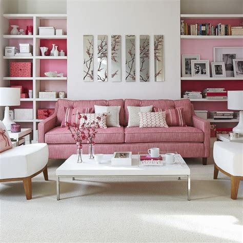 Pink Sofa Living Room Modern Living Room With Pink Sofa And Shelving How To Decorate With Pink Decorating