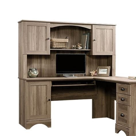 sauder harbor view computer desk with hutch salt oak computer desk and hutch in salt oak 417586 87 kit