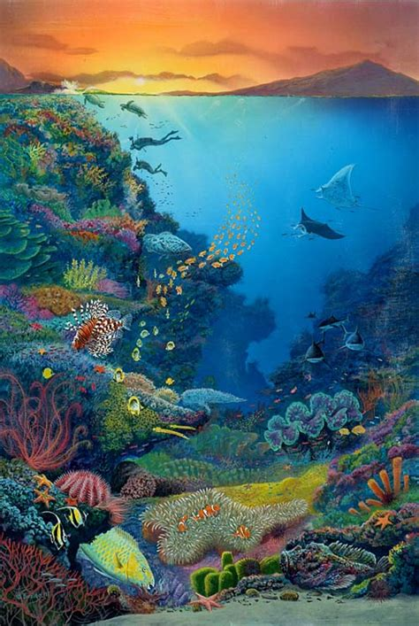 acrylic painting underwater world visits wonders great barrier reef