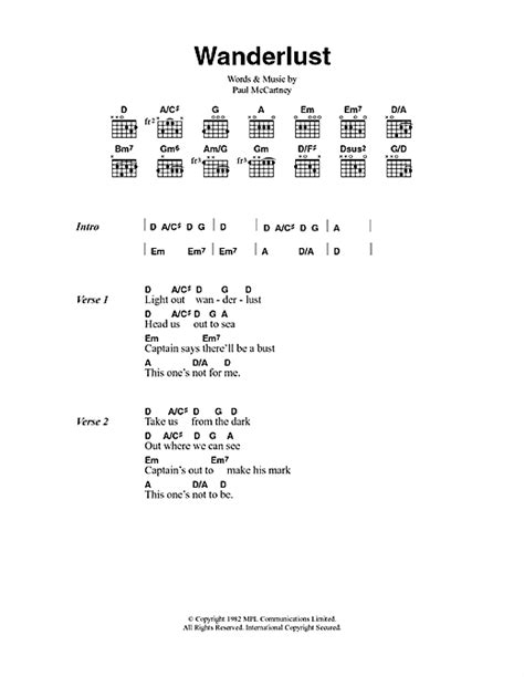 lyrics mccartney wanderlust sheet by paul mccartney lyrics chords