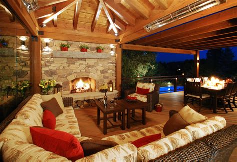 Fireplace Patio Place Colorado Outdoor Living Room Rustic Deck Denver By