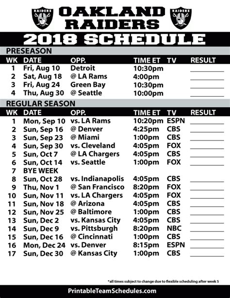 printable raiders schedule 2015 image gallery raiders schedule 2016 2017