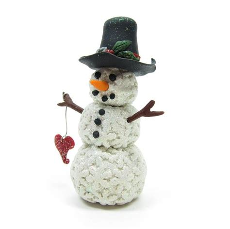 snowman miniature figurine polymer clay sculpture  snowflakes brown eyed rose