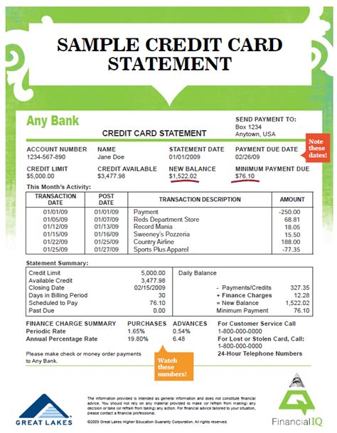 Credit Card Statement Template budgets and checks mrs nelson economics