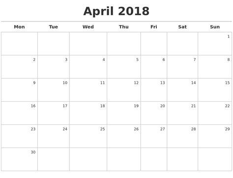 Kalender April 2018 April 2018 Calendar Maker
