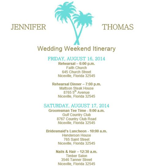 wedding day itinerary for bridal template weekend itinerary template calendar template 2016