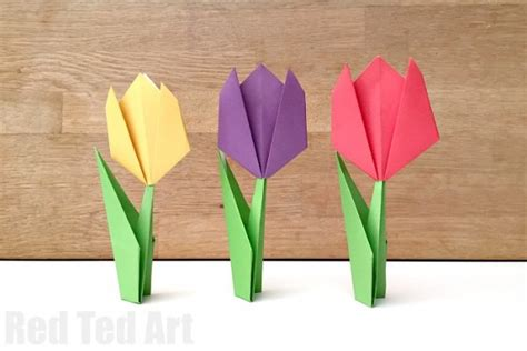 How To Make Easy Paper Flowers For Cards - easy paper tulip ted s