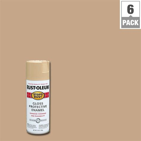 rust oleum stops rust 12 oz protective enamel gloss sand spray paint 6 pack 7771830 the