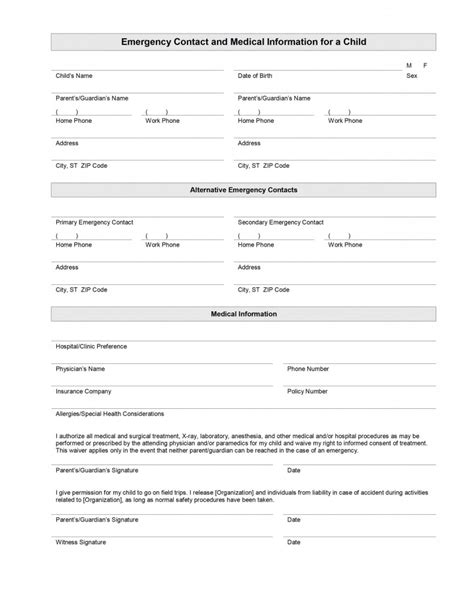 Emergency Contact Form Template For Child by Child Emergency Contact And Information Template