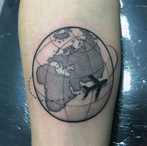 designs to go around name tattoos airplane circling around the world travel