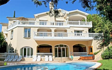 building a dream home 带游泳池和花园的别墅 素材公社 tooopen com