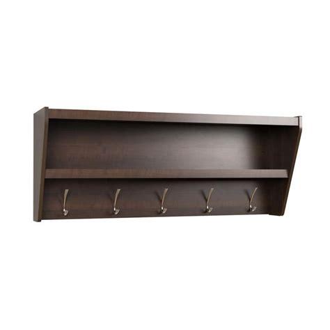 Foyer Shelf by Prepac Floating Entryway Shelf Coat Rack In Espresso