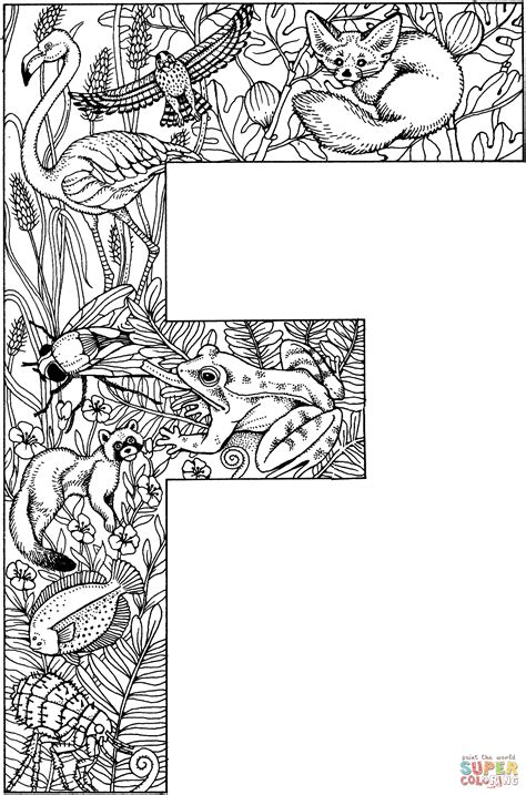 E T Coloring Pages letter f with animals coloring page free printable