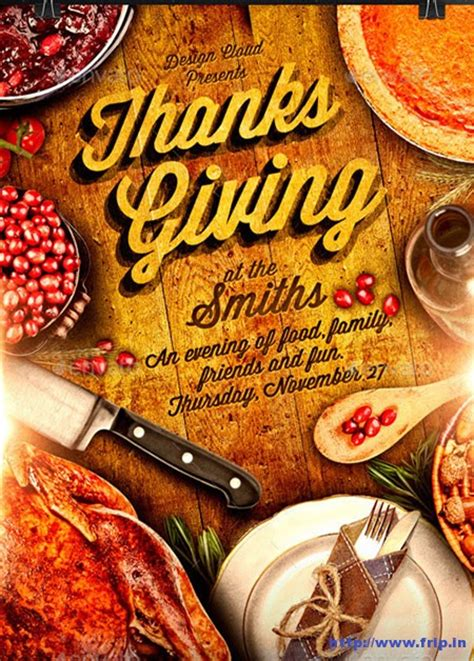 100 Best Thanksgiving Party Flyers Print Templates 2016 Frip In Thanksgiving Flyer Template