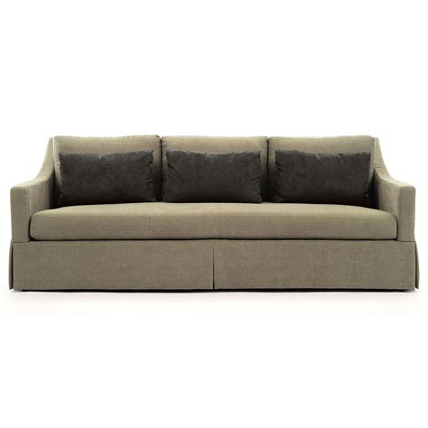 skirted sofa isabel coastal beach skirted base taupe sofa kathy kuo home