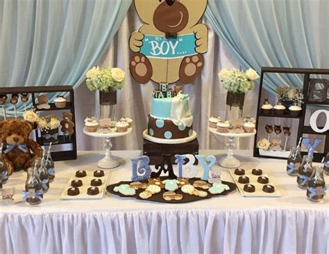 Blue And Brown Baby Shower Table Ideas Photograph Give - chocolate and blue baby shower decorations table baptism